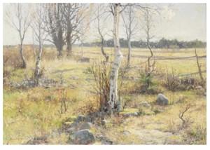 Vårlandskap Med Björkar by Gottfrid KALLSTENIUS
