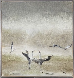 Landskap Med Tranor by Olle LINDGREN