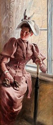 Ung Dame Med Paraply (olga Wischman) by Paul FISCHER