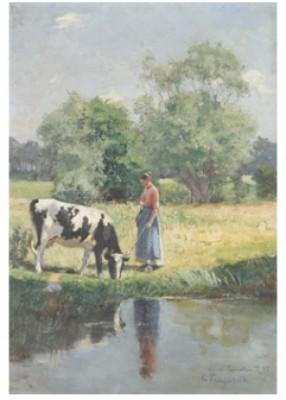Kvinna Vattnar Ko by Carl TRÄGÅRDH