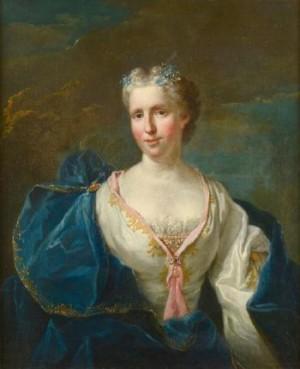 Portrait De Jeune Femme À La Robe Bleue by Jean-Baptiste OUDRY