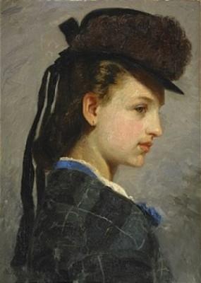 Porträtt Av Ung Flicka I Hatt by Olof ARBORELIUS