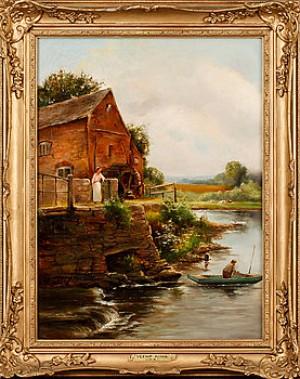 Vattenkvarn Med Kvinna Och Man I Eka by Henry John YEEND KING
