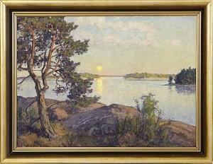 Skärgårdslandskap I Solnedgång by Gottfrid KALLSTENIUS