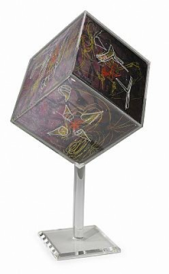 Cubo Extendido, Colour Silkscreen, Folded And Mounted In Glass Fibre Cube by Roberto MATTA