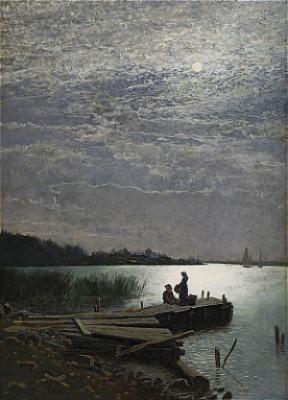Månsken över Kustlandskap by Oscar TÖRNÅ