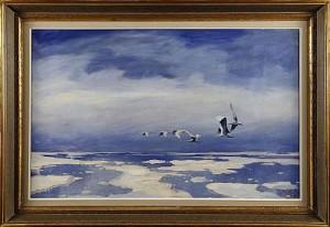 Havsmotiv Med Sträckande Svanar by Axel LIND