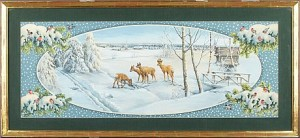 Vinterlandskap Med Rådjur by Erik FORSMAN