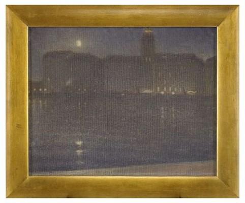 Nattbild Från Stockholm - Utsikt Från Strandvägen Mot Strand Hotell by John AHLBERG