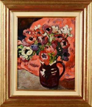 Bouquet D'anemones Au Fond Rouge by Louis VALTAT
