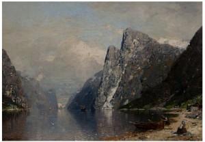 Vestlandsfjord Med Dampbåt by Georg Anton RASMUSSEN
