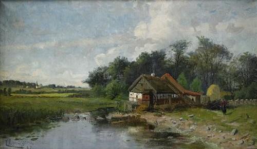 Skånegård Vid Vattendrag by Justus Evald LUNDEGÅRD