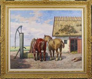 Hästar Vid Stall by Béla HRADIL