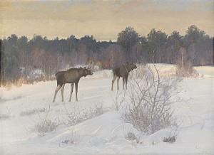 älgar I Vinterlandskap by Carl BRANDT