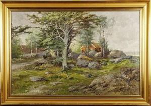 Landskap Med Röd Stuga by Otto GRIPENSVÄRD