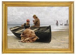 Fiskare Och Flicka På Stranden I Bretagne by August HAGBORG