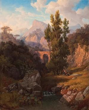 Vue Af Subiaco-dalen Med De Antika Aquedukterna Och Klostret S:t Bendetto I Fonden by Gustaf Wilhelm PALM