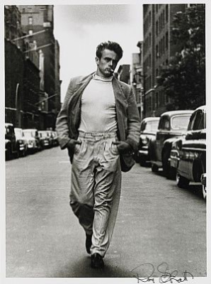 James Dean Walking On West 68th Street, New York by Roy SCHATT