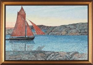 Båt Vid Kust I Skymningsljus by Verner HOLMQUIST
