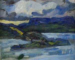 Norrländskt Landskap Med Vatten by Helmer OSSLUND