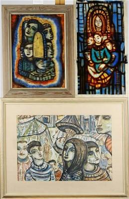 (3 St), Figurkompositioner, Signerade, Glasmålningar (2) Samt Blandteknik (1) by Erik HEINERTZ