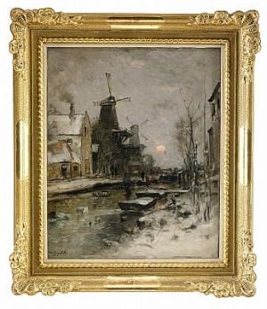 Holländskt Vinterlandskap I Aftonrodnad by Wilhelm Von GEGERFELT