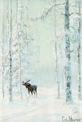 Elk In Cold Winter Landscape by Vladimir Leonidovich MURAWJOFF