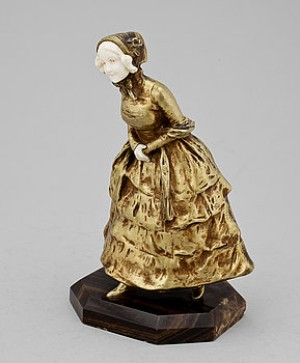 Kvinnofigur, Brons Samt Elfenben by Georges Van STRAETEN