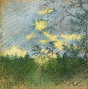 Landskap Med Träd by Helmer OSSLUND