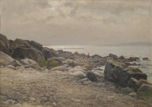 Kustlandskap Med Klippor Och Figurer by Berndt LINDHOLM