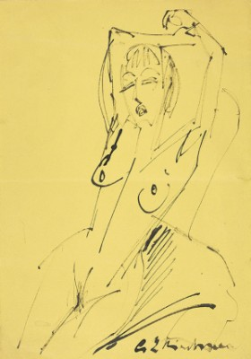 Sich Reckender Weiblicher Akt by Ernst Ludwig KIRCHNER