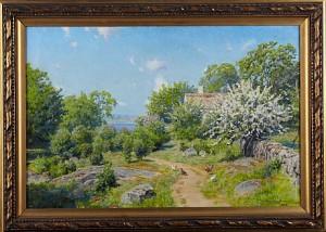 Gårdsidyll Med Pickande Höns by Johan KROUTHÉN