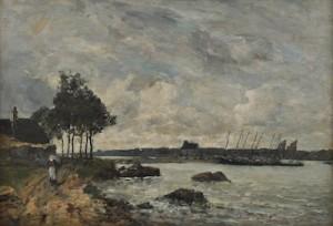 Plougastel. View Prise Au Passage Du Bac Sur L'elorn by Eugène Louis BOUDIN