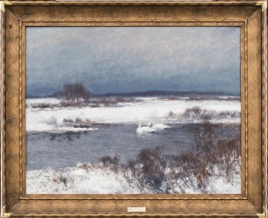 Vinterbild Med Svanar by Mosse STOOPENDAAL