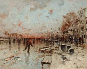 Skridskoåkare På Frusen Kanal by Wilhelm Von GEGERFELT