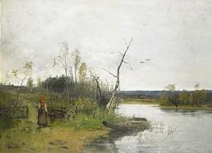 Strandlandskap Med Bondkvinna Och Barn by Olof HERMELIN