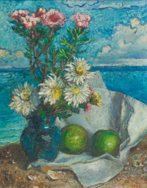 Still Life Of Flowers In A Vase And Apples On A Beach by David Davidovich BURLIUK