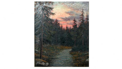 Skogsstig I Aftonrodnad by Otto LINDBERG
