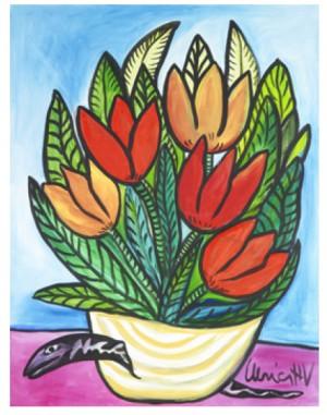 Blomsterstilleben Med Orm. Signerad by Ulrica HYDMAN-VALLIEN