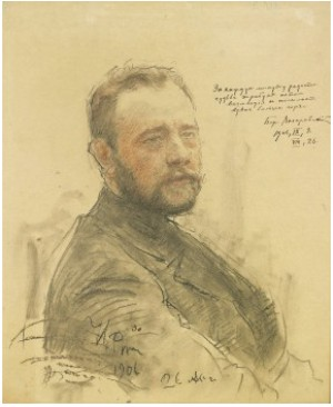 Portrait Of The Writer Boris Aleksandrovich Lazarevsky by Ilya Efimovich REPIN