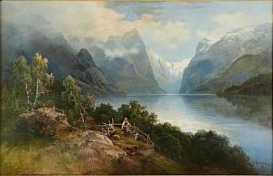 Fjordlandskap Med Med Kvinnor Och Barn I Förgrunden by Josefina HOLMLUND