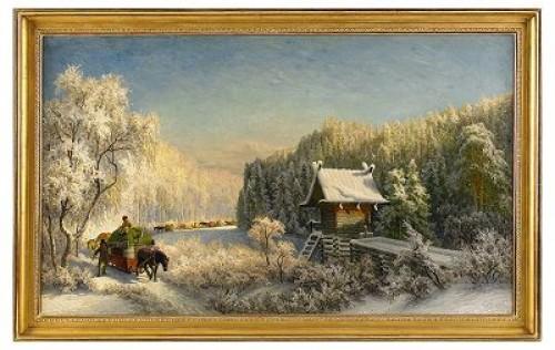 Slädfölje Och Njalla - Motiv Från Dalarna by Olof ARBORELIUS