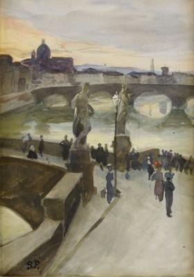 Flanörer På Ponte Santa Trinità I Florens by Georg PAULI