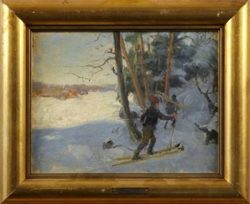 Vinterlandskap Med Skidåkare by Johan 'John' KINDBORG