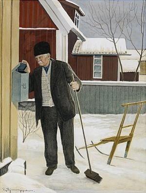 Man Med Kvast - Vintermotiv Från Trosa by Reinhold LJUNGGREN