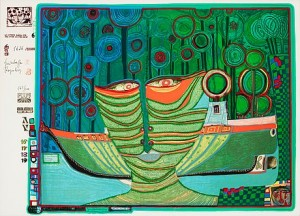 Look At It On A Rainy Day (the Regentag Portfolio) The Complete Portfolio Comprising 10 Silkscreens by Friedensreich HUNDERTWASSER