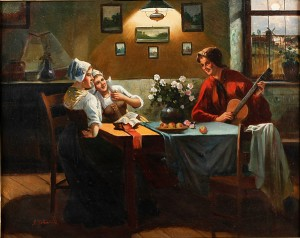 Interiör Med Musicerande Kvinnor by Alois TELARIK
