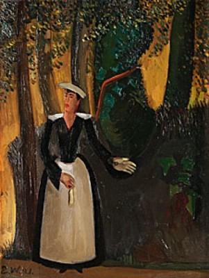 Kvinna I Vit Kjol by Edvard WALLENQVIST