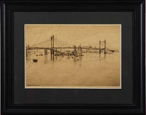Albert Bridge And Cadogan Pier, London 1927 by Axel FRIDELL