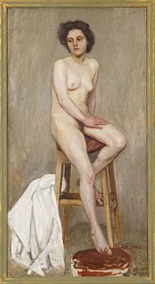 Sittande Modell, Troligen Utförd På Konstakademin Mellan 1900-1906 by Elsa SCHULTZ-MOBERGER